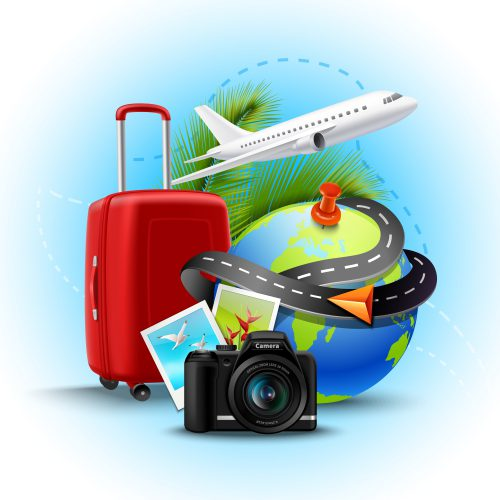 Vacation and holidays background with realistic globe suitcase and photo camera vector illustration